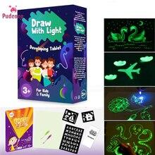 цена Pudcoco Fluorescent Drawing Board Draw With Light Fun And Developing Toy Drawing Board Magic Educational Gift Kids Whiteboard онлайн в 2017 году