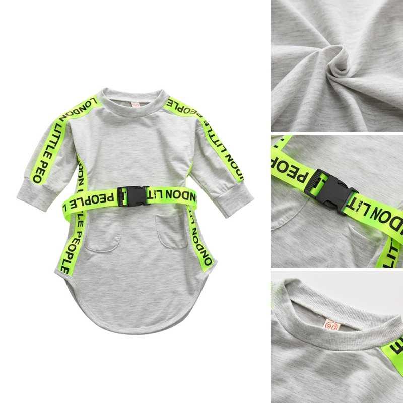 Детские платья для девочек; модный свитер с длинными рукавами; комбинезон; одежда для маленьких девочек с буквенными флуоресцентными полосками; серое платье для младенцев