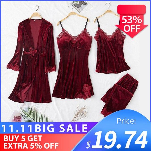 JULYS SONG модный Бархатный комплект из 4 предметов, теплые зимние пижамные комплекты, женский сексуальный кружевной халат, пижама, костюм для сна, одежда для сна без рукавов