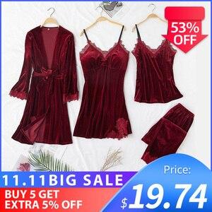 Image 1 - JULYS SONG ensemble 4 pièces de pyjama chaud dhiver en velours, pyjama Sexy en dentelle, vêtement de nuit, sans manches