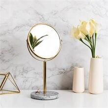 Base de mármore, base de mármore de luxo espelho de maquiagem ouro rosa decoração de casa cosméticos para moças escritório espelho redondo