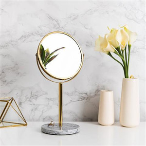 Luxury Marble Base Rose Gold Mirror Makeup Vanity Mirror Home Decor Cosmetic Ladies Office Dormitory Desktop Round Mirror(China)