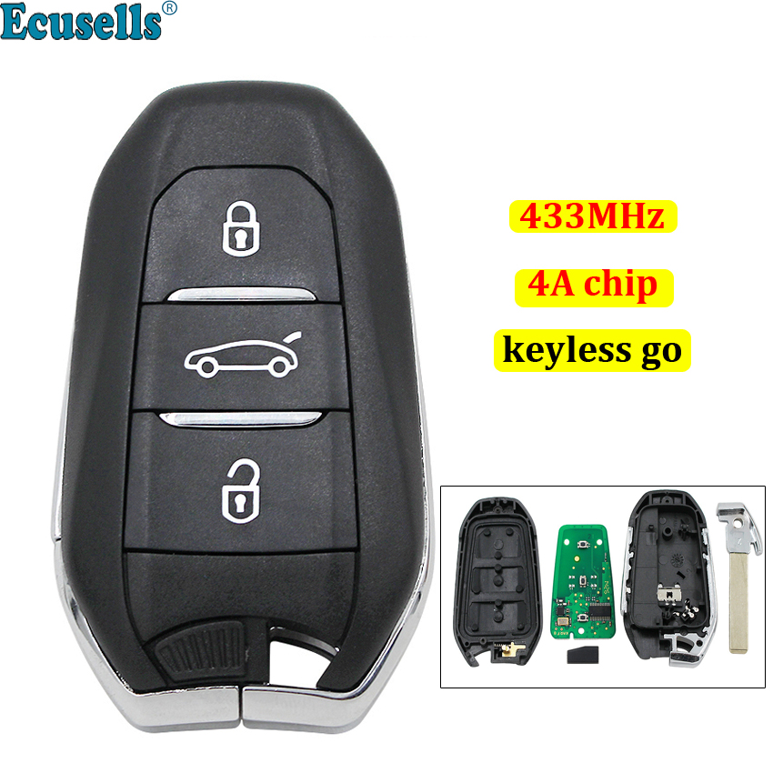 Keyless-Go 3 buttons smart <font><b>remote</b></font> <font><b>key</b></font> fob 433MHz 4A chip for <font><b>Peugeot</b></font> <font><b>208</b></font> 308 508 3008 5008 with emergency <font><b>key</b></font> HU83 image