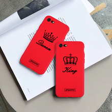 Candy Phone Case Coque For iPhone xr 7 8 6 6S Plus x XS MAX 5 5S Romantic King Queen Couple Cover