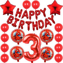 18 pçs/lote Super Herói Número 1 Balão Inflável Balão de Hélio Festa de Aniversário Decoração Do Partido Do Homem Aranha Meninos Brinquedos Ballon glob