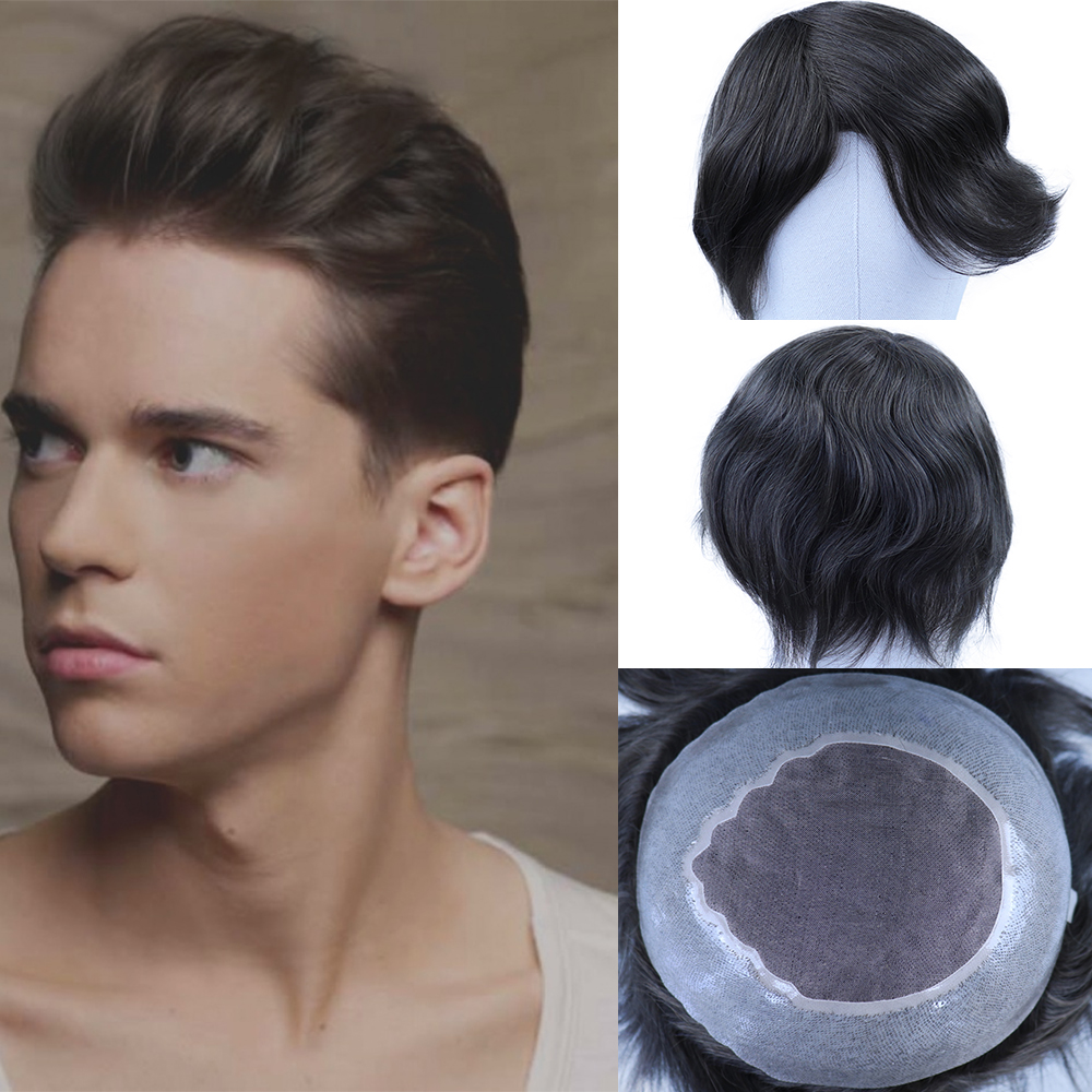 YY Wigs #6 Medium Brown Human Hair Toupee For Men Mono Net & PU Remy Hair Replacement System Men's Toupee Hairpiece 6 Inch 8x10