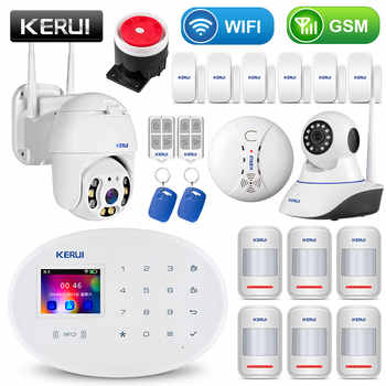 KERUI WIFI GSM Home Security Alarm System Mit 2,4 zoll TFT Touch Panel APP Control RFID Karte Wireless Smart Home einbrecher Alarm