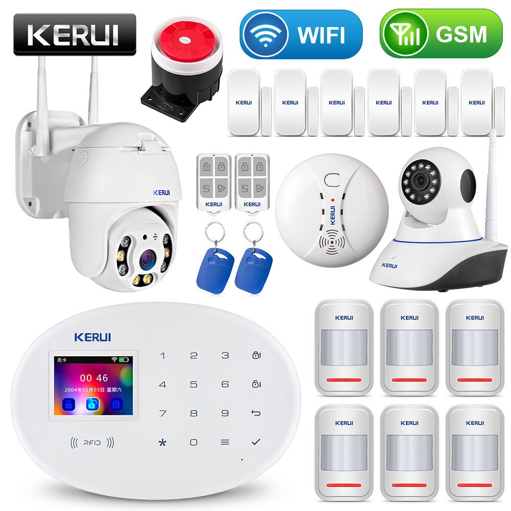 KERUI WIFI GSM Home Security Alarm System With 2.4 inch TFT Touch Panel APP Control RFID Card Wireless Smart Home Burglar Alarm title=