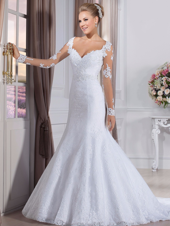 2016 Vestidos De Novia Sexy Mermaid V Neck Court Train Sheer Long Sleeve Lace Wedding Dresses Bridal Gown With Beadings VS01