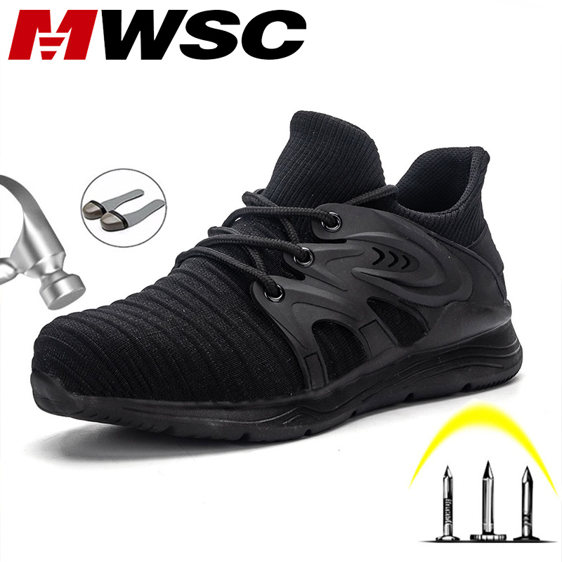 MWSC S3 Men Safety Work Shoes Steel Toe Cap Work Shoes Anti-smashing Construction Boots Working Indestructible Safety Sneakers