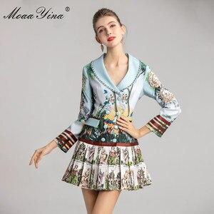 Image 2 - MoaaYina אופנה מעצב שמלת אביב סתיו נשים של שמלה ארוך שרוול הדפסת חרוזים טור כפתורים כפול קפלים שמלות