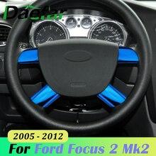 4 sztuk/zestaw ze stali nierdzewnej dekoracja paneli kierownicy samochodu pokrywa wykończenia dla Ford Focus 2 Mk2 2005   2012 akcesoria