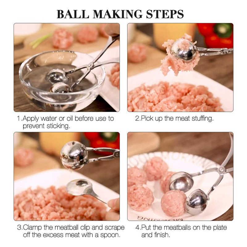 LMETJMA boule à viande en acier inoxydable | Boule à viande farcie sans bâton, viande poisson boule de viande, outils de cuisine KC0298