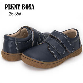PEKNY BOSA skórzane buty marki dla dzieci dziewczyna dzieci chłopiec buty boso maluch trampki buty rozmiar 25-35 # tanie i dobre opinie RUBBER Unisex Pasuje prawda na wymiar weź swój normalny rozmiar 10 t 11 t 12 t 13 t Prawdziwej skóry Mieszkanie z brown blue black