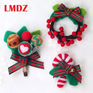 LMDZ 1Pcs Felting Brooch DIY Felting Crafts Wool Felt Kit Handmade Set Christmas Decoration Wreath Santa Claus Christmas Tree