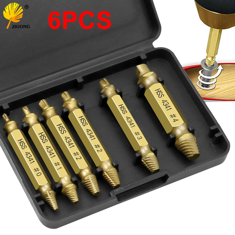 6pcs 1 Box Screw Remover Damaged Screwdriver Set Broken Bolt Screw Remover Screw Deburrer