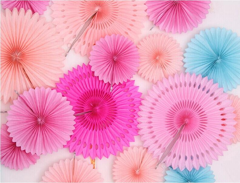 5pcs 4 quot 12 quot Tissue Paper Fan Wedding Decorative Paper Crafts DIY Hanging Tissue Flower for Festival Birthday Party Baby Shower in Party DIY Decorations from Home amp Garden