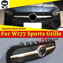 Diamonds style grille Grill ABS Silver Sports With Camera For W177 A class A180 A200 A250 A45 look Front Bumper Without Sign 19+