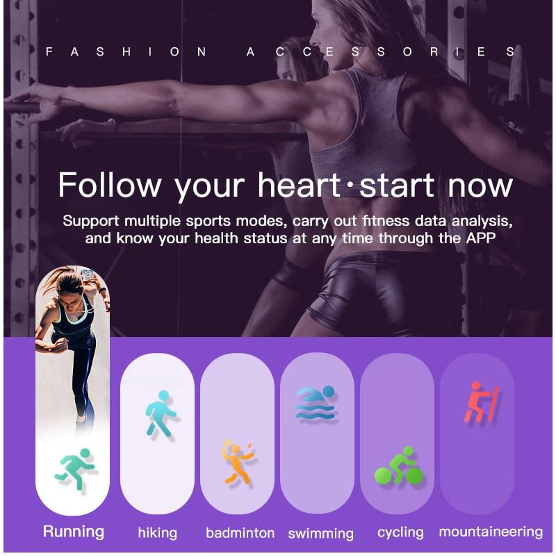 Fitness Band Women Health Wristband Blood Pressure Watch Smart Bracelet Sleep Monitor Waterproof Swim SmartBand Activity Tracker in Smart Wristbands from Consumer Electronics