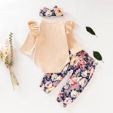 Baby Girl Set 0-24M Newborn Ruffles Solid Romper+Floral Pants+Headband Outfits