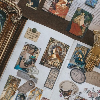40 Pcs Retro Under Sunset Series Decorative Stickers DIY Scrapbooking Stick Label Diary Album Stationery Vintage Stickers lazy cat meow decorative stationery stickers scrapbooking diy diary album stick label