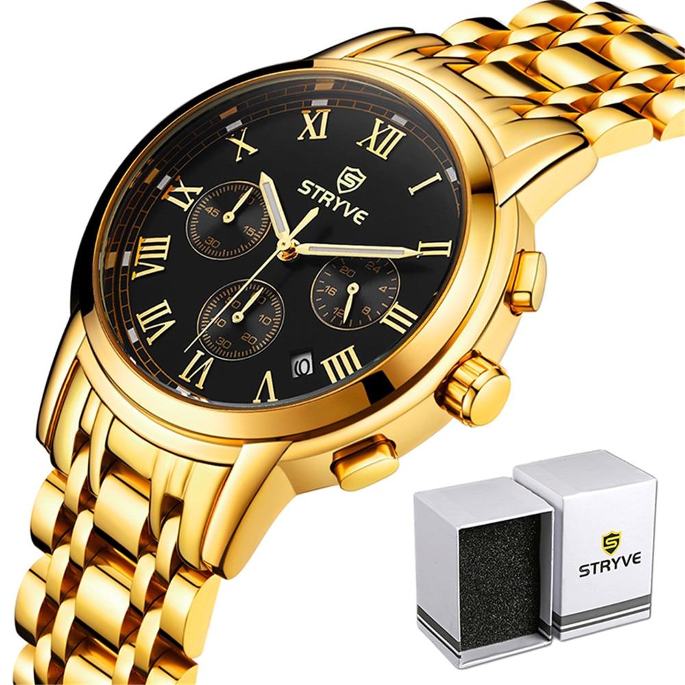 Relojes Men STRYVE Fashion Sport Quartz Date Clock Brand Luxury Stainless Steel Chronograph Waterproof Watch Relogio Masculino