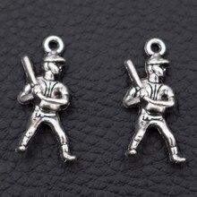 Baseball Charm, Pendant, Sports Fan Player 3D Charm- Commemorative Jewelry A565 25*11mm 10pcs