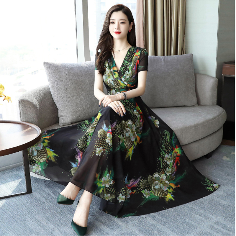 2020 Summer New Vintage Dress Women V-neck Silk Flower Green Dress Printing Temperament Seaside Vacation Clothes Plus Size image