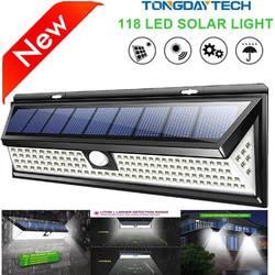 Солнечный светильник 118 светодиодный движения PIR Сенсор лампы на улице IP65 Водонепроницаемый солнечного сада аварийного безопасности
