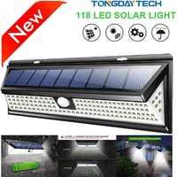 Lámpara Solar 118 LED lámpara con sensor de movimiento al aire libre IP65 luces solares de jardín impermeables lámpara Solar de seguridad de emergencia lámpara Solar de pared