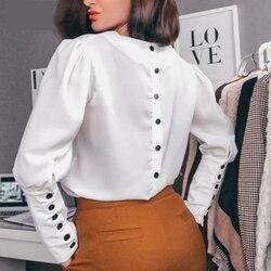 Женская офисная блуза с пуговицами сзади, длинный рукав, сексуальный v-образный вырез, однотонная элегантная повседневная рубашка, осень 2019,...