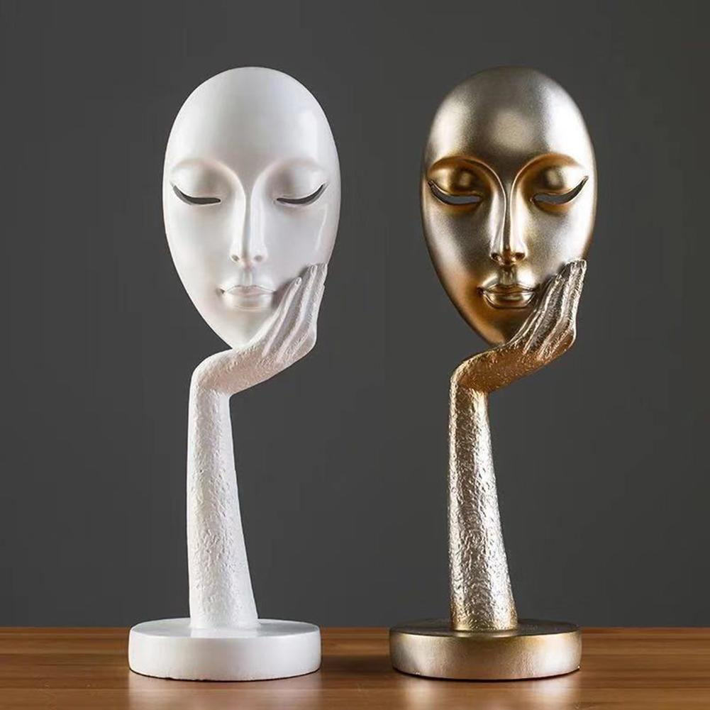 1pc Resin Crafts Lady Face Meditator Abstract Art Sculpture Office Craft Ornament Home Decoration Small Ornaments