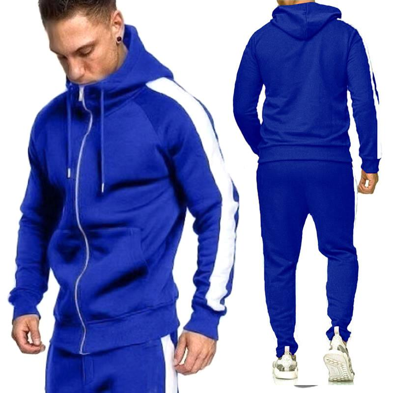 2019 Zipper Tracksuit Men Set Sport 2 Pieces Sweatsuit Mens Clothes Printed Hooded Hoodies Jacket & Pants Track Suit Men