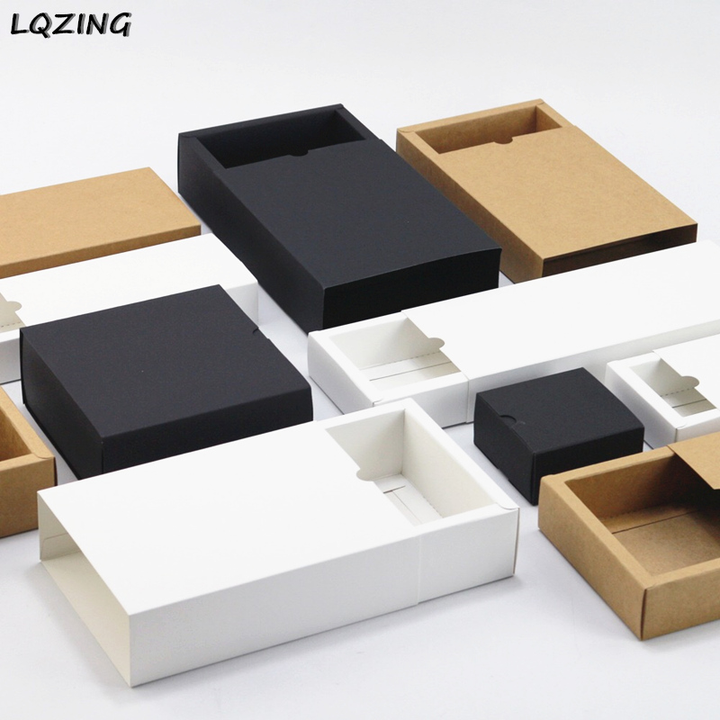 20pcs Black kraft gift packaging cardboard box black packing gift box white paper drawer box wedding favor delicate drawer boxes image
