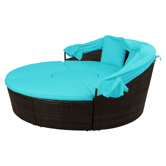 Round Outdoor Sectional Sofa Daybed With Retractable Canopy  6