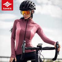 Santic Winter Fleece Thermische Frauen Radfahren Jersey Langarm MTB Rennrad Jersey Winddicht Wärmer Fahrrad Jersey Fahrrad Kleidung