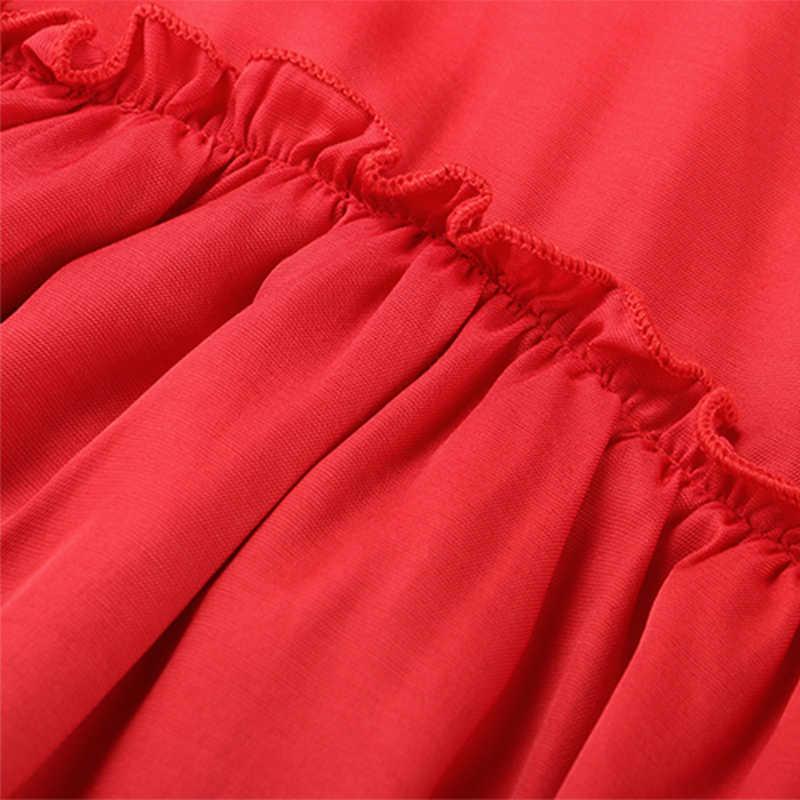 Vestido de verano con volantes Forefair, Mini Vestido de playa Sexy con hombros descubiertos, línea A, informal, corto de talla grande, tirantes finos, vestido negro rojo para mujer
