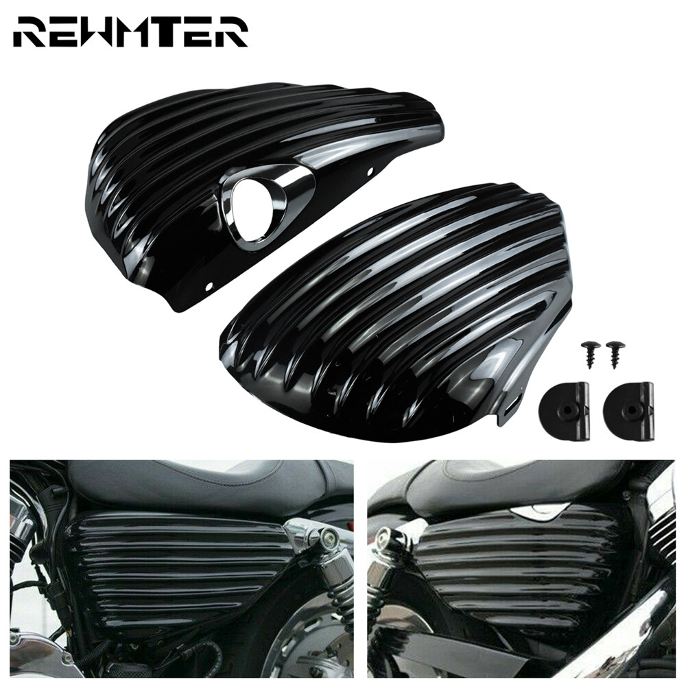 Motorcycle Side Battery Cover Guard Left Right Gas Tank Battery Fairing Cover Stripe Black For Harley Sportster 883 1200 XL14-20 image