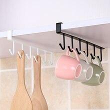 Iron 6 Hooks Storage Shelf Wardrobe Cabinet Metal Under Shelves Mug Cup Hanger Bathroom Kitchen Organizer Rack Holder 2021 Hot