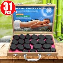 Tontin 31 pçs/set pedra quente massagem conjunto ferramenta basalto pedras de massagem 220v/110v bambu aquecedor caixa ce rohs pedra redonda massageador