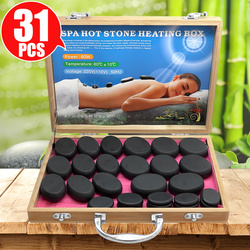 Tontin 31pcs/set hot stone massage set tool basalt massage stones 220V/110V bamboo heater box CE ROHS Round stone massager