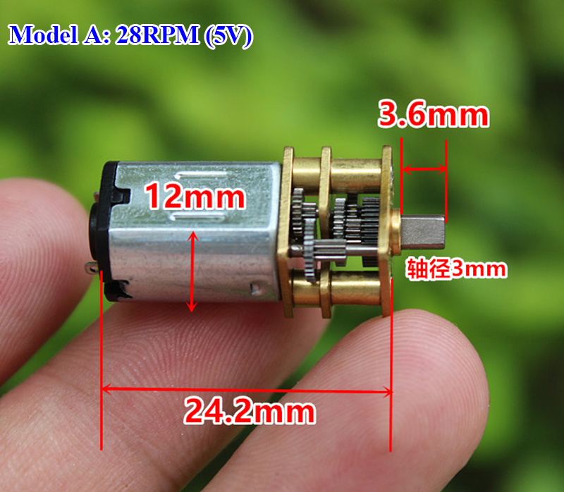 Micro Mini N20 Gear Motor DC 3V -6V 5V 28RPM 60RPM 110RPM 300RPM Slow Speed Full Metal Gearbox Reducer Electric Motor DIY Toy