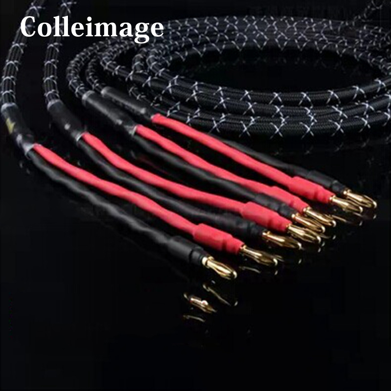 Colleimage Hifi 6N Pure Copper  Speaker Cables Banana Plug 2 To 2 Connector Audio Amplifier CD DVD Player Speaker Cable