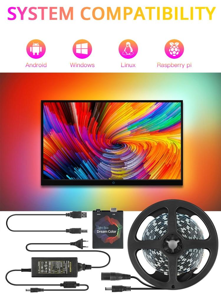 Led-Strip Background-Lighting Color-Ambilight-Kit Pc-Screen Light-5050 Dream Desktop
