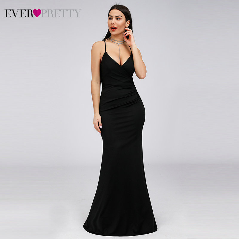 Simple Black Prom Dresses Ever Pretty Spaghetti Straps Dee V-Neck Sleeveless Draped Sexy Mermaid Party Gowns Vestido De Festa