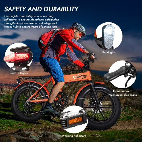 ENGWE 500W 20-inch Fat Tire Electric Bicycle Mountain Beach Snow Bikes for Adults, Aluminum Electric Scooter 7 Speed Gear E-Bike