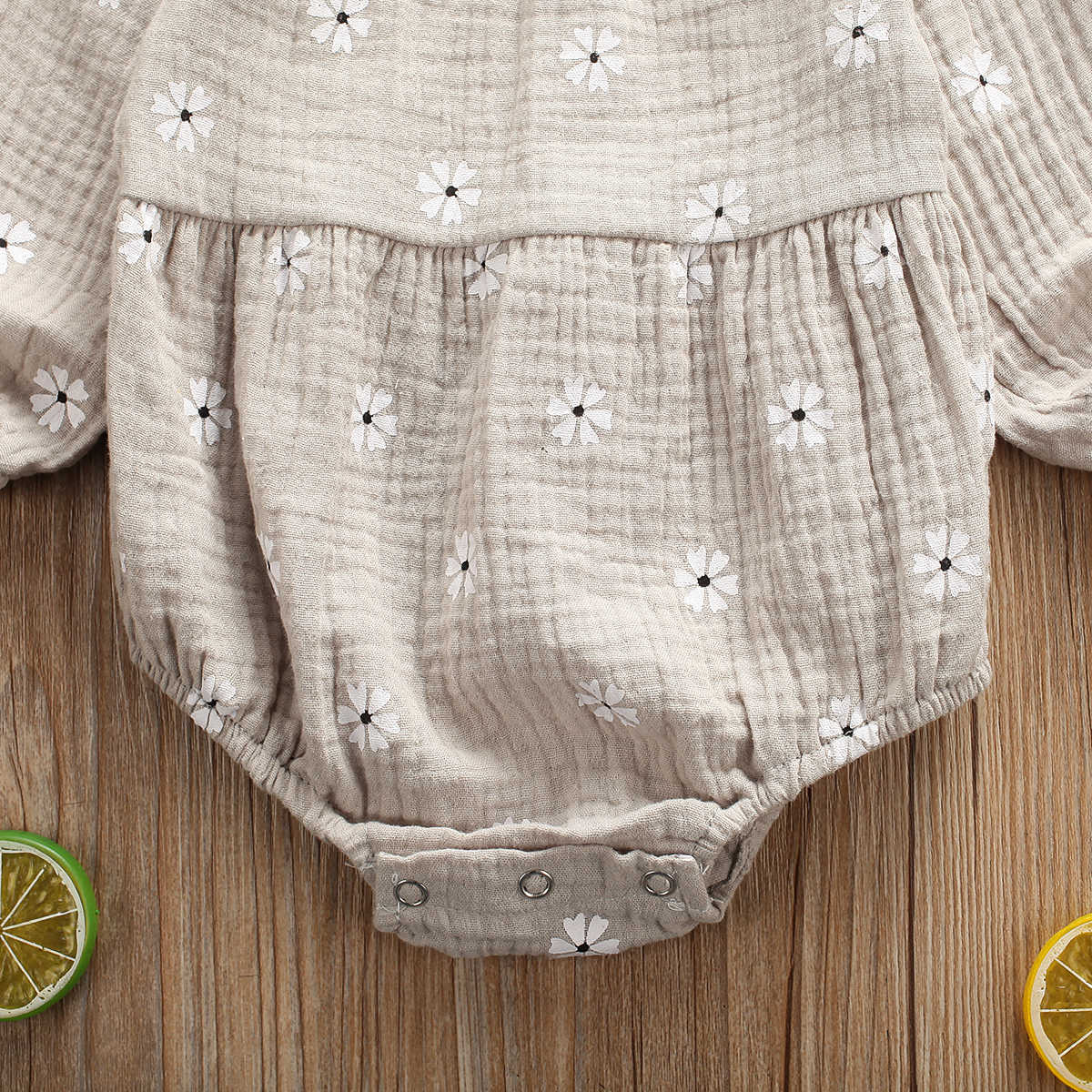 Quần Áo Bé Sơ Sinh Trẻ Sơ Sinh Bé Gái Vải Lanh Cotton Tay Dài Lệch Vai Hoa Bodysuit Áo Liền Quần 0-24M