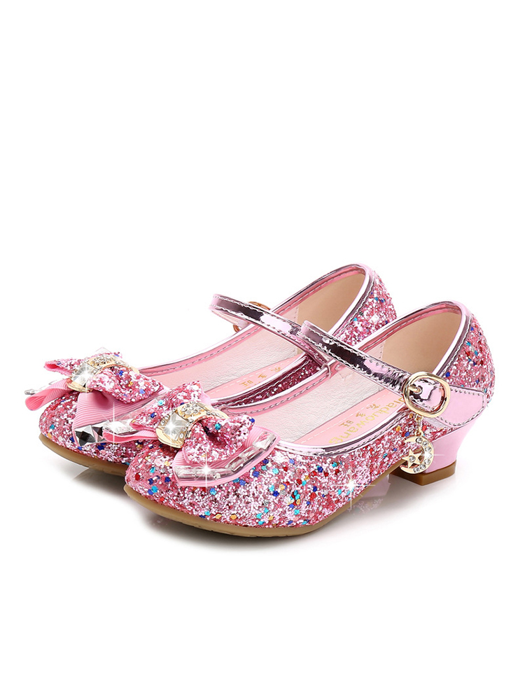 Shoes Flower Glitter Knot High-Heel Pink Silver Girls Blue Princess Kids Casual Children