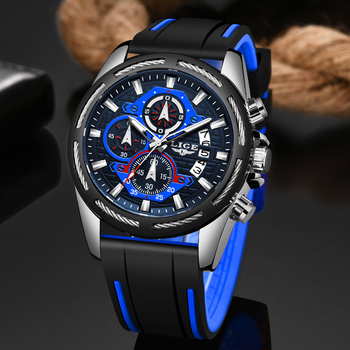 Erkek Kol Saati LIGE Mens Watches Top Brand Luxury Fashion Sport Watch Men's Silicone Quartz Clock Waterproof Watch Reloj Hombre