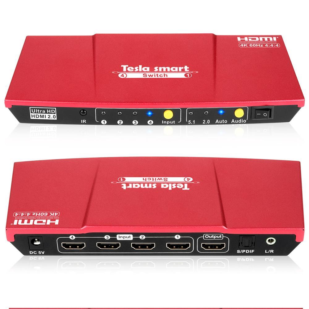 4K 4x1 HDMI commutateur 4 ports HDMI commutateur 4 en 1 sortie avec sortie Audio S/PDIF et L/R prise en charge HDTV 4K @ 60Hz 4:4:4 IR télécommande